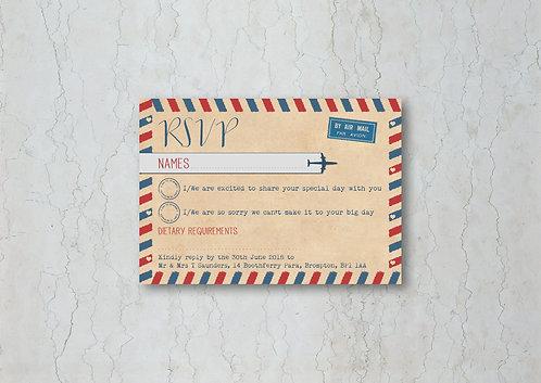 Airmail Wedding Invitation RSVP