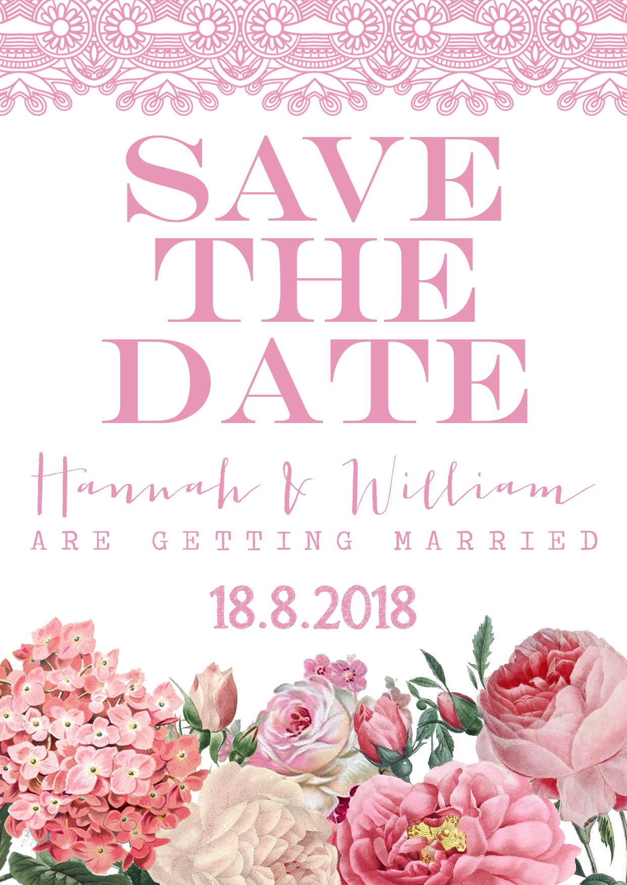 Floral Lace Save the Date Pink