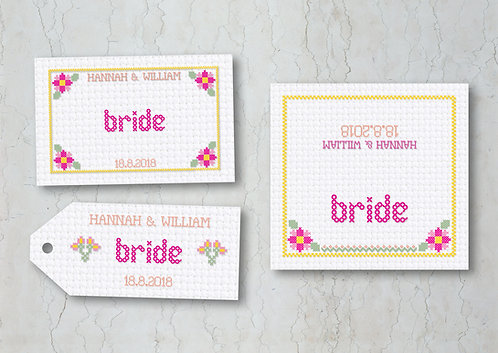 Cross Stitch Wedding Place Cards