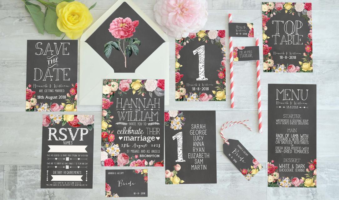 Floral Chalkboard Wedding Stationery