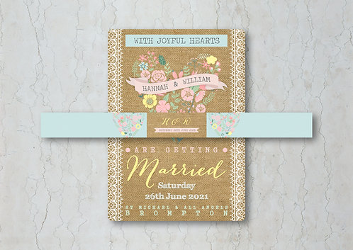 Hessian Floral Wedding Invitation Belly Band