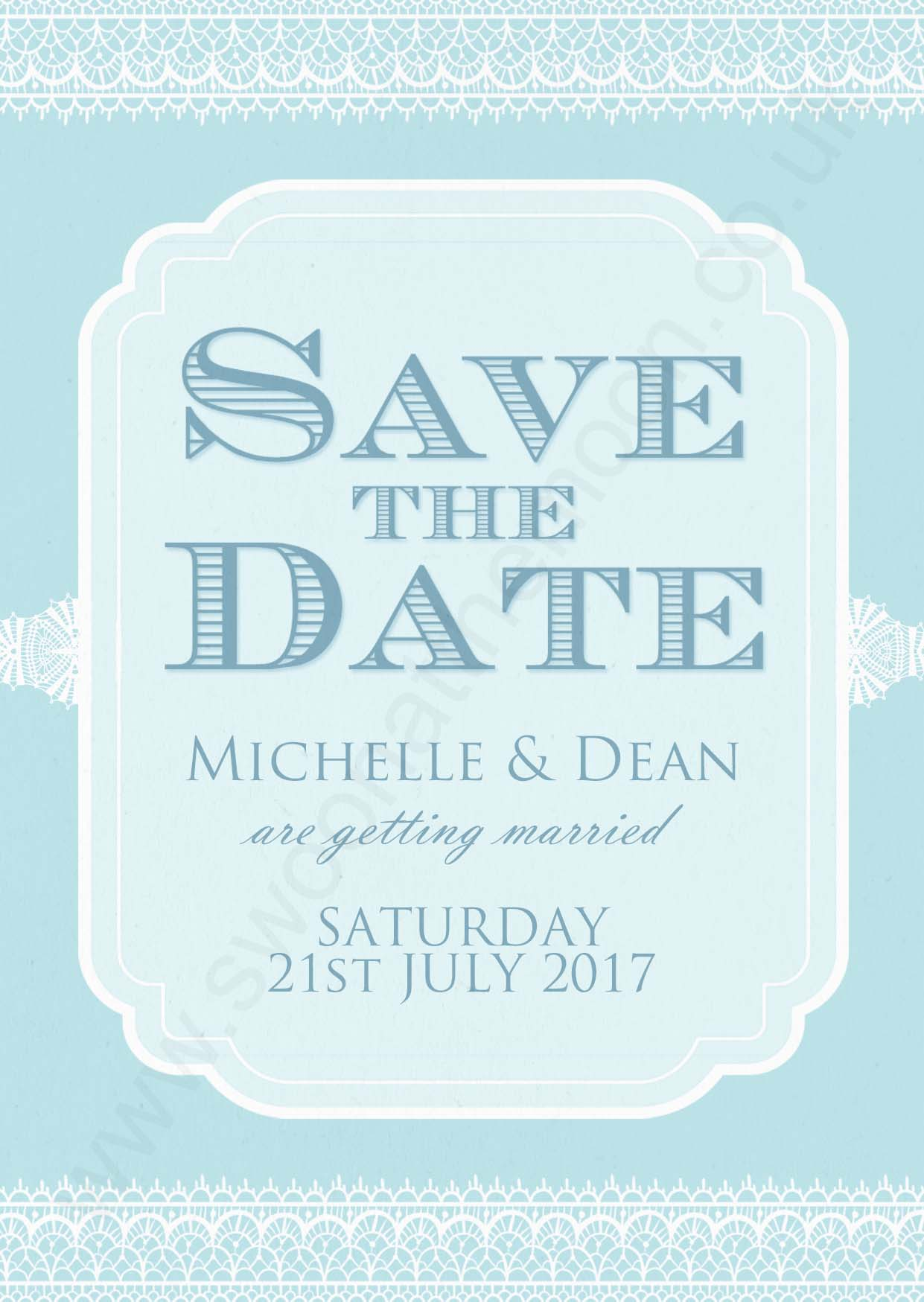Classic Lace Save the Date Duck Egg
