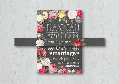 Floral Chalkboard Wedding Invitation Belly Band