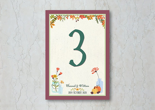 Autumn Wedding Table Number