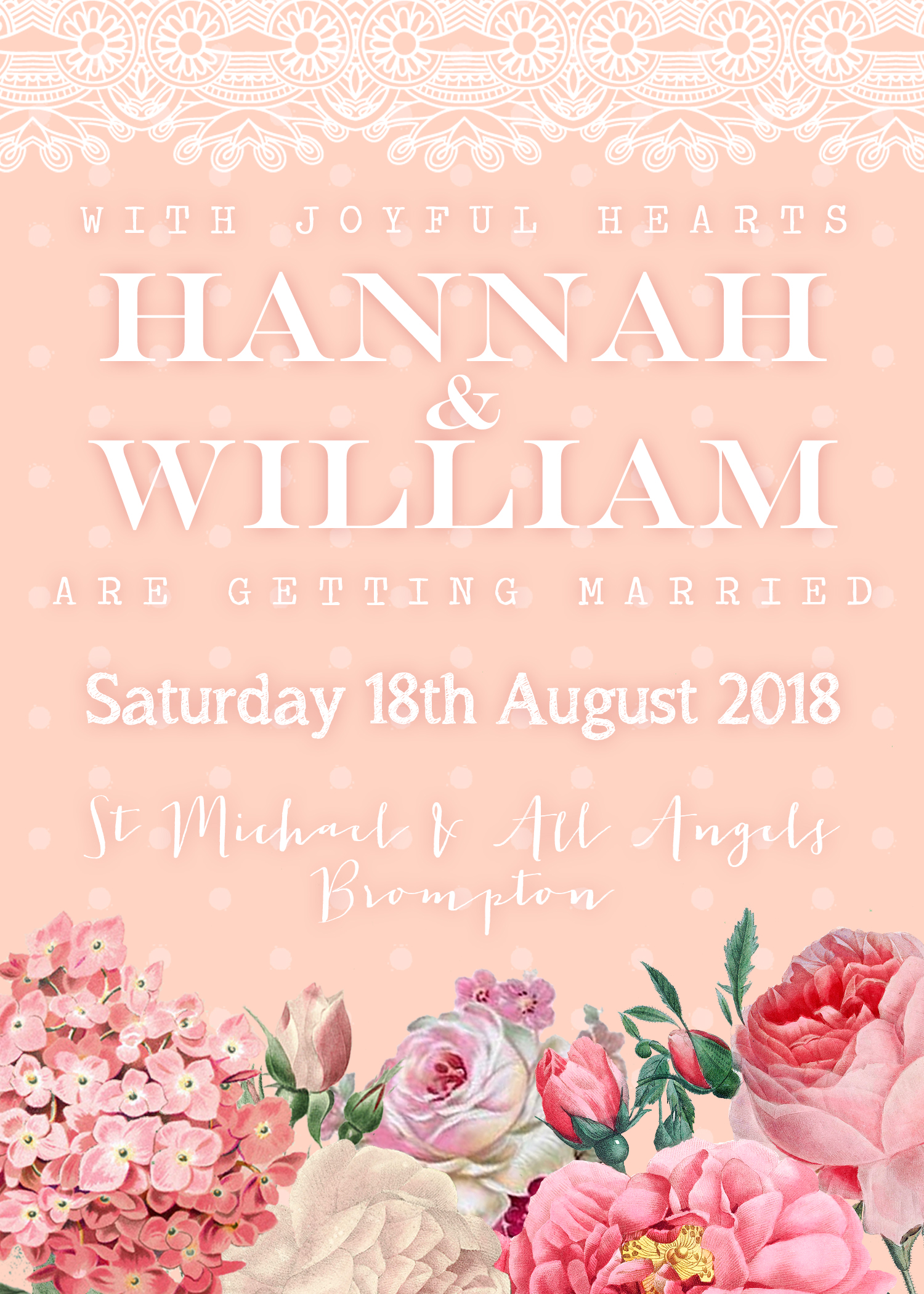 Floral Lace Wedding Invitation Blush