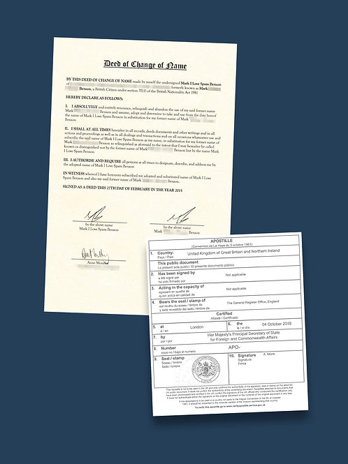 Certified Deed Poll Apostille + Options
