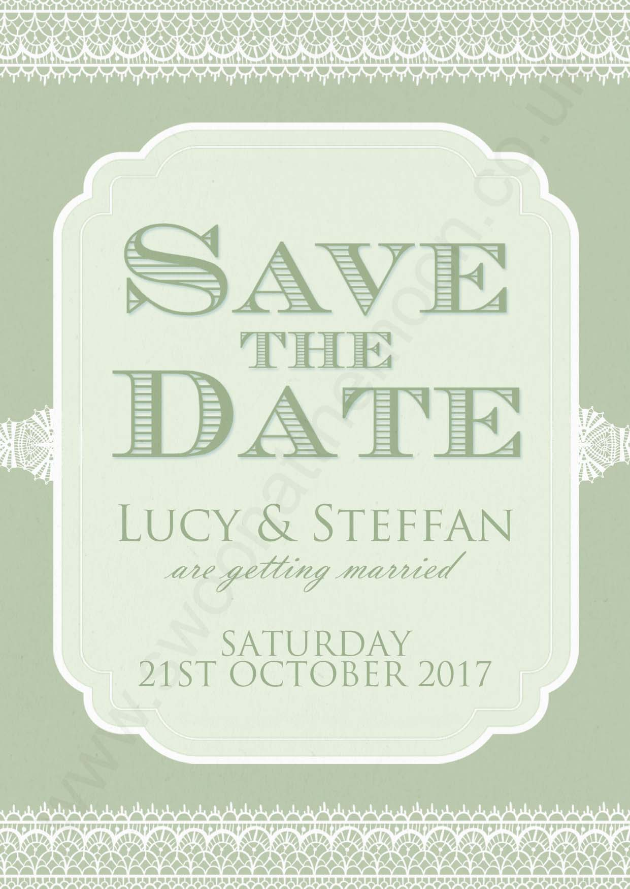 Classic Lace Save the Date Olive