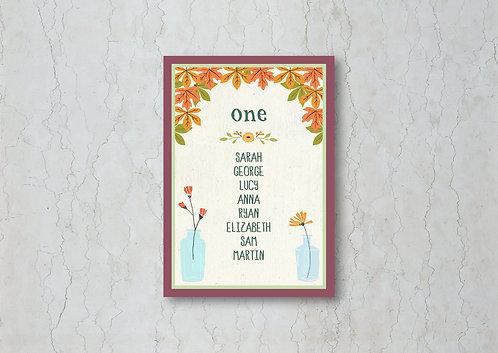 Autumn Wedding Table Plan Card