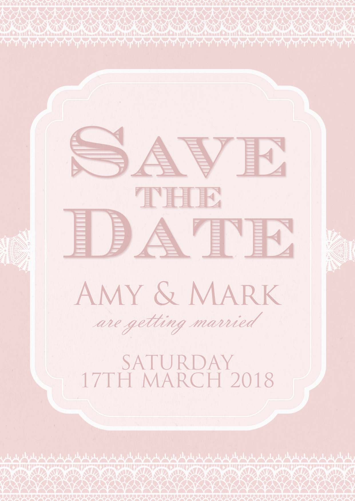 Classic Lace Save the Date Blush