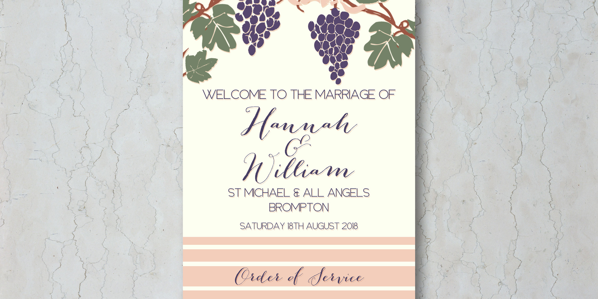 Grapes & Vines Wedding Order of Service