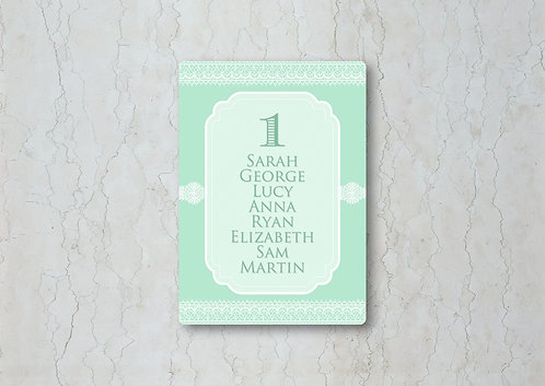 Classic Lace Wedding Table Plan Card