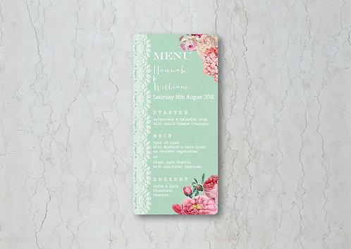 Floral Lace Wedding Menu