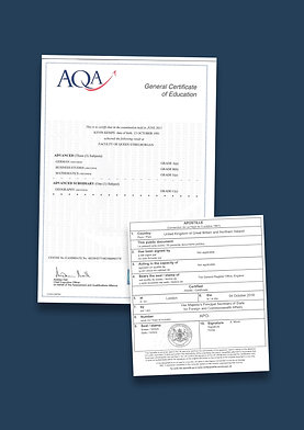 A-Level Certificate Apostille + Options