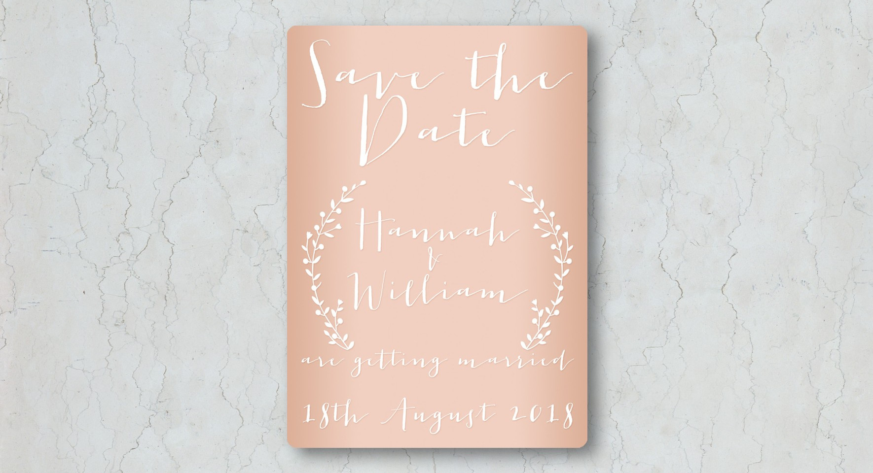 Nude & Copper Save the Date Wedding Invitation