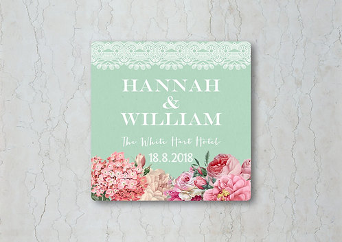 Floral Lace Wedding Beer Mat