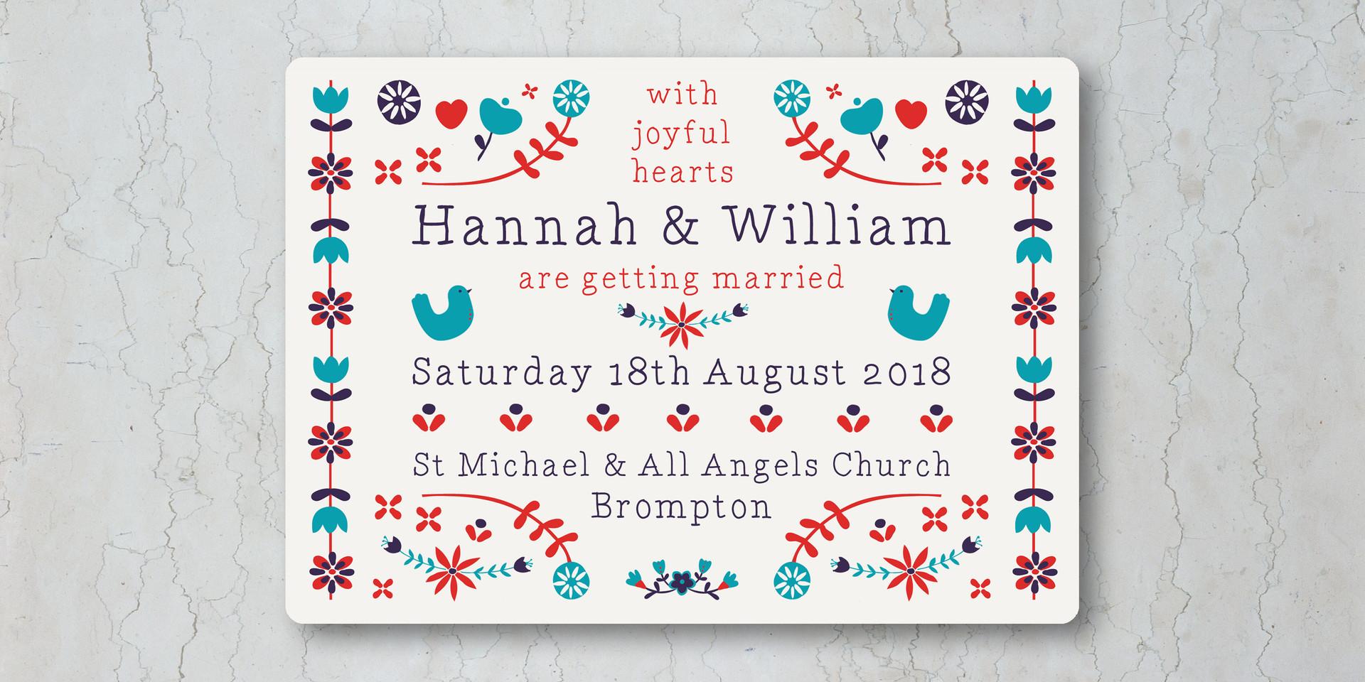 Floral Folk Wedding Invitation