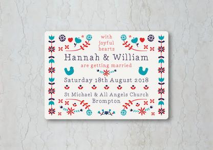 Folk Wedding Stationery Invitation