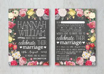 Floral Chalkboard Wedding Invitation