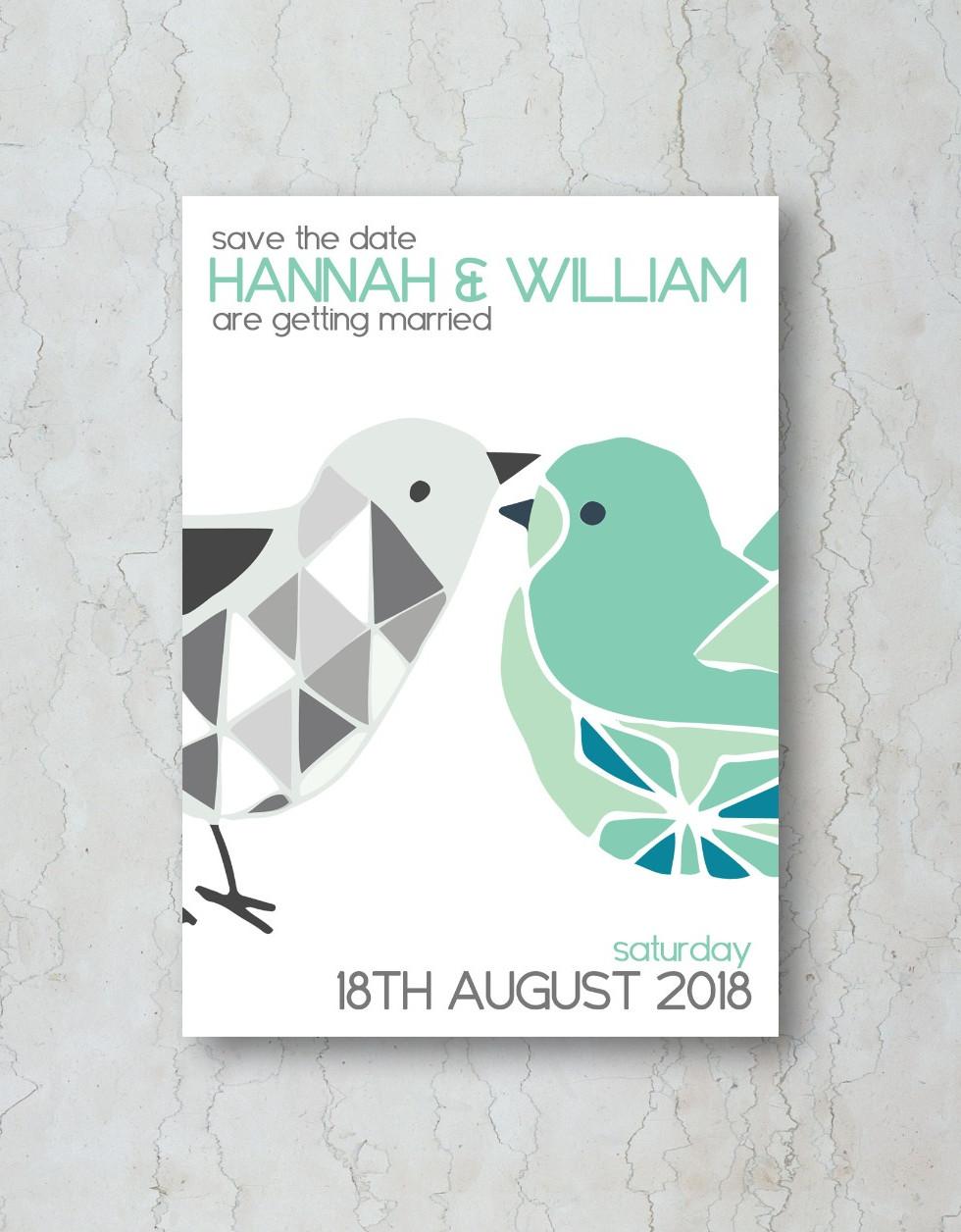 Geometric Birds Save the Date Wedding In
