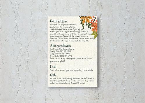 Autumn Wedding Invitation Insert
