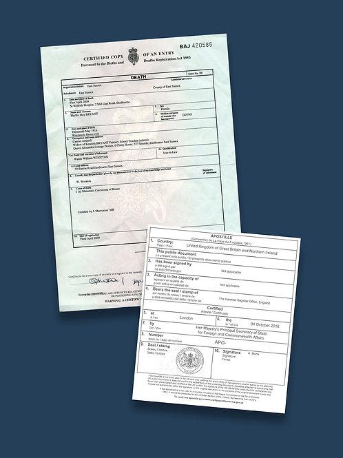 Death Certificate Apostille + Options