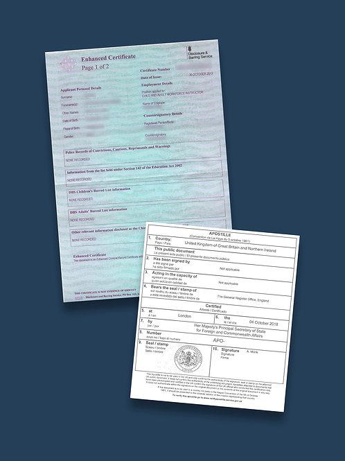 DBS Certificate Apostille + Options