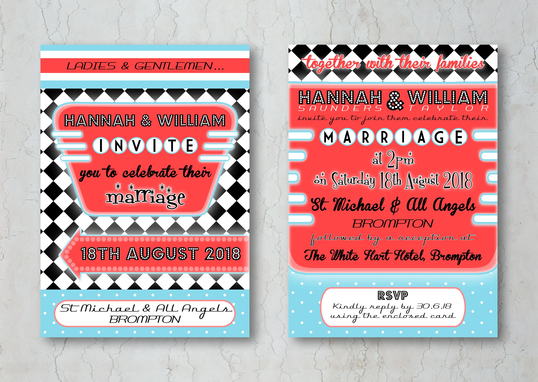 Retro Diner Wedding Invitation