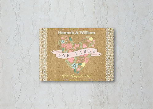 Hessian Floral Wedding Table Name