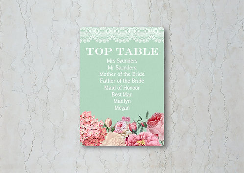 Floral Lace Wedding Table Plan Card