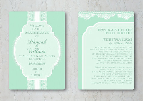 Classic Lace Wedding Order of Service