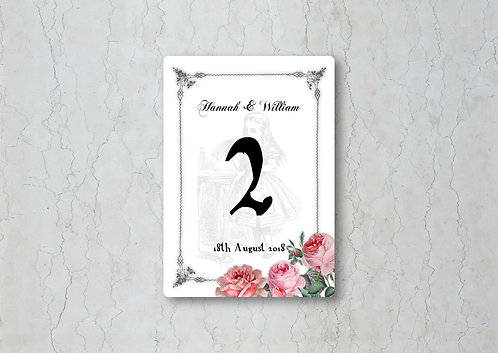 Alice in Wonderland Wedding Table Number