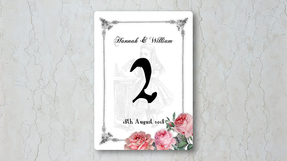 Alice in Wonderland Wedding Table Number