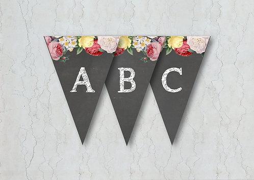 Floral Chalkboard Wedding Bunting