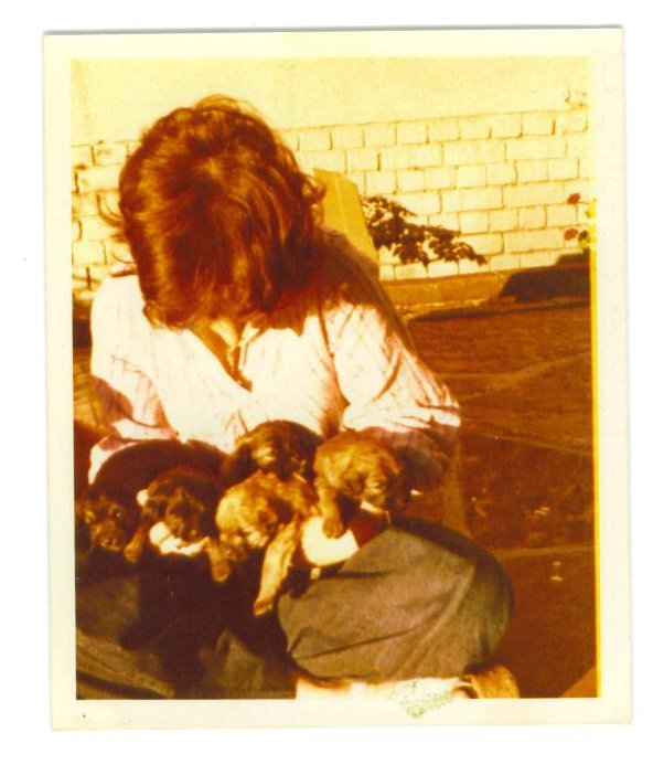 Jen with puppies 1972