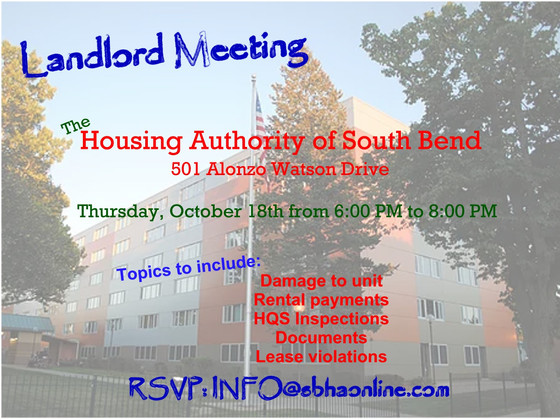 October 18th Landlord Meeting Announced!