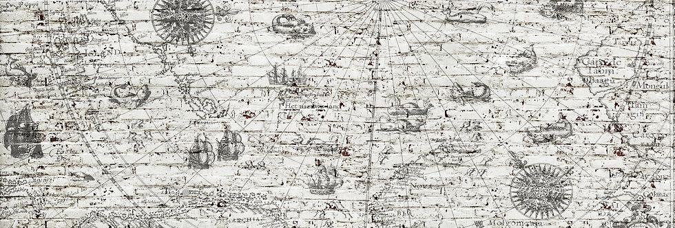 MAP & ROUGH BRICK WALL par Les Dominotiers