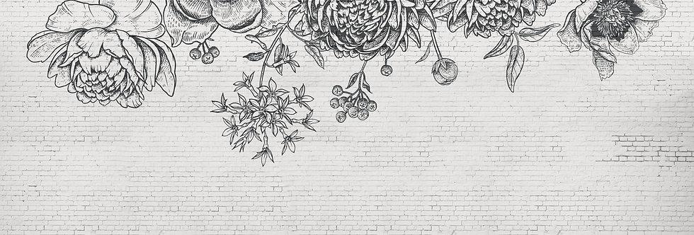 BLACK FLOWER BRICK WALL par Les Dominotiers