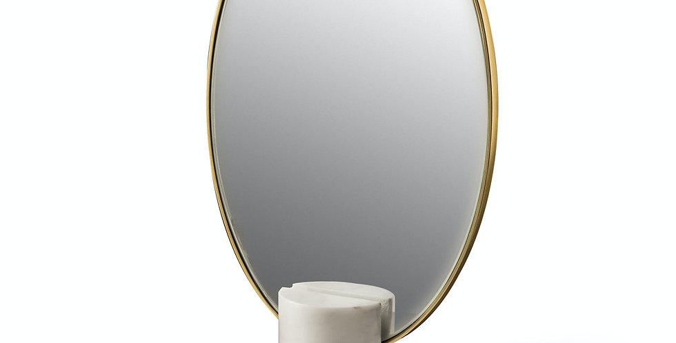 MIROIR A POSER, marbre blanc et laiton doré