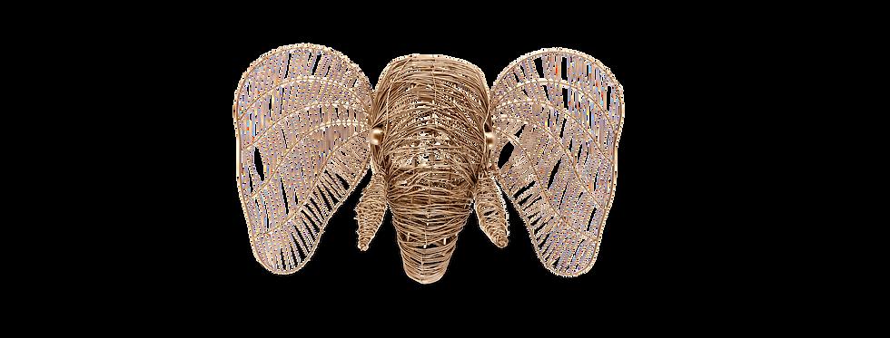 TETE D'ELEPHANT, laiton doré