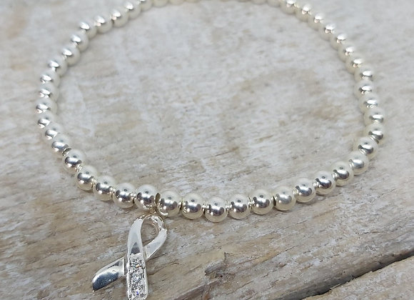 Benny&Moo round beaded bracelet with awareness ribbon charm