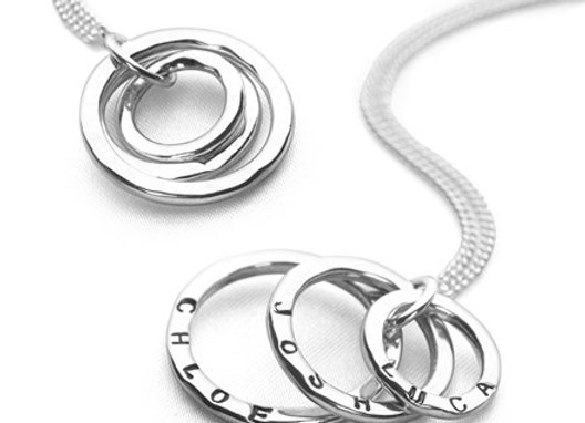 Sterling Silver Multi size hand stamped necklace