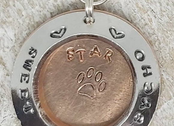 Sweet but a psycho' ID Tag for dog with paw print charm, Pet ID