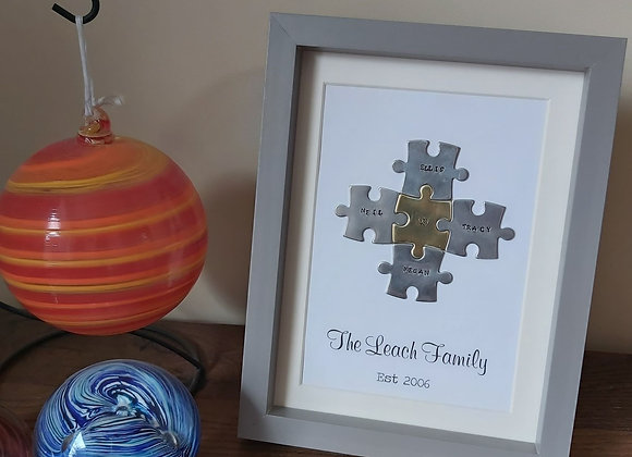 Family puzzle piece A5 frame