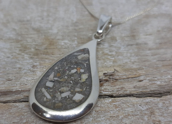 Sterling Silver Cremation ashes teardrop Pendant