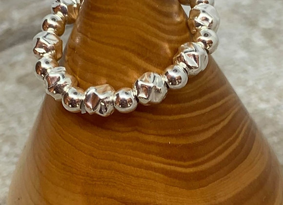 Sterling silver hammered bead stacking ring