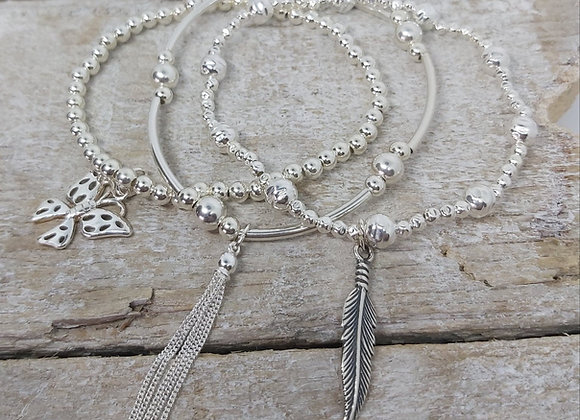 Benny&Moo 'Flying' sterling silver triple stacking set