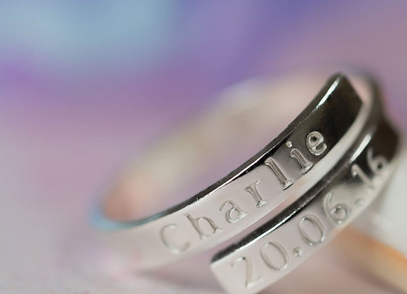 Name and date Sterling silver wrap ring. Adjustable hand stamped ring