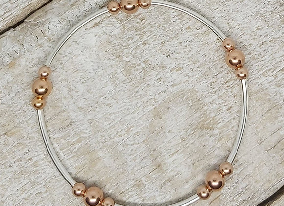 Benny&Moo noodle and mixed rose gold round beads bracelet