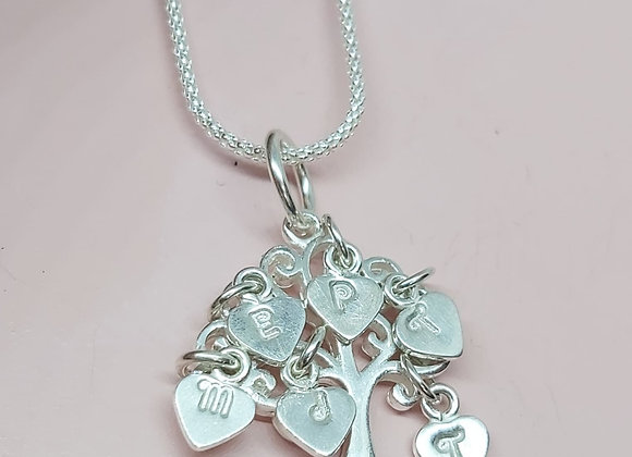 Family tree with hand stamped heart charms necklace in Sterling Silver