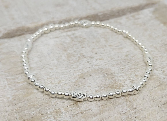 Benny&Moo faceted seed and rondelle beads sterling silver bracelet